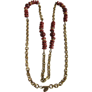 Vintage Signed Miriam Haskell Clay Wine Red Glass And Chunky GP Chain Necklace