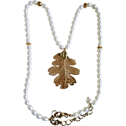 Vintage Freshwater Cultured Pearl with GP Genuine Skeltonized Oak Leaf Pendant Necklace