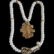 Vintage Freshwater Cultured Pearl with GP* Genuine Skeltonized Oak Leaf Pendant Necklace
