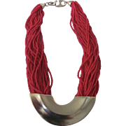 Vintage Signed Pierre Cardin Red Seed Beads Multi Strand Gold Plated Centerpiece Necklace