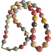 Vintage Rainbow Dyed Sponge Coral Graduated Necklace