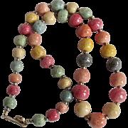 Vintage Rainbow Dyed Sponge Coral Graduated Necklace