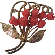 Vintage Orange Red Carved Coral Bouquet of Roses Floral Filagree Brooch