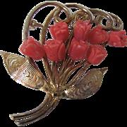 Vintage Orange Red Carved Coral Bouquet of Roses Floral Filagree Brooch