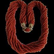Vintage Natural Red/Orange Coral Seed bead Torsade with Certified Appraisal $3945
