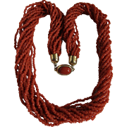 Vintage Natural Red/Orange Coral Seed bead Torsade with Certified Appraisal $3945