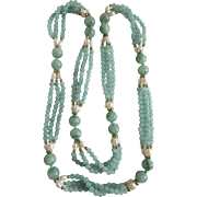 VINTAGE Triple Strand Dyed Green Quartz with Freshwater Cultured Pearls Festoon Endless Necklace