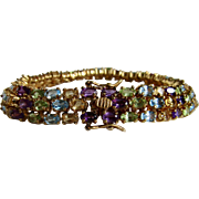 Vintage GEMSTONE Vermeil Triple Row Locking Bracelet Certified Appraisal $2710