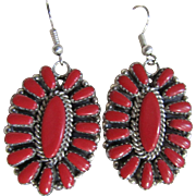 Vintage Sterling Silver Natural Red Coral Santa Fa Style Earrings Certified Appraisal