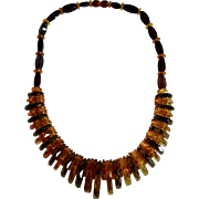 Vintage Baltic AMBER - Natural Not Heated Carved Graduated FACETTED 2 Tone Necklace
