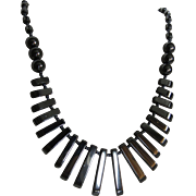Vintage Hematite Graduated Pendant Bead Necklace
