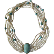 Vintage 7 Strand Cultured Pearl GP Silver Clasp Stabilized Turquoise Cabochon Torsade Necklace