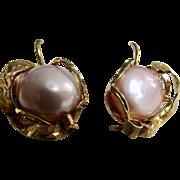 Vintage Cultured Pearl Boutonniere GP Sterling Silver Italian Hand Crafted Shepherd Hook Pierced Certified Appraisal $1545