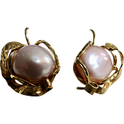 Vintage Cultured Pearl Boutonniere GP Sterling Silver Italian Hand Crafted Pierced Earrings