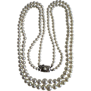 Vintage A+ Akoya Cultured Pearl Two Strand Silver 850 Necklace Certified Appraisal $3725