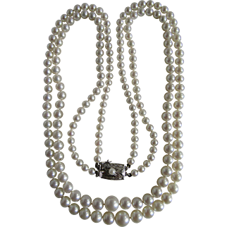 Vintage A+ Akoya Cultured Pearl Two Strand Silver 850 Necklace