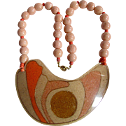 Vintage Pop Art Style Sponge Coral Beads Inlaid on Resin Centrepiece Necklace