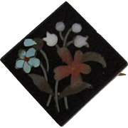 Antique Pietra Dura Floral set in Whitby Jet Hinge Clasp Mourning Jewelry Brooch