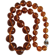 Little Creations  Sterling Silver Baltic Natural Amber Reformed Pressed Large Scale 170 grams 30 inch Graduated Bead Necklace