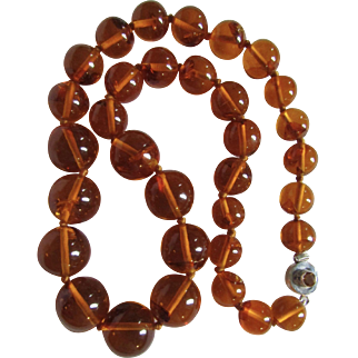 "Vintage Sterling Silver Baltic Natural Amber Reformed Pressed Large Scale 170 grams!! 30"" Graduated Bead Necklace"