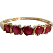 Vintage Lab Created Ruby Gems Semi-Channel & Double Prong Set GP* Bangle Bracelet