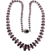 Vintage Graduated Crystal Paste Amethyst Rondelles and Rock Crystal Facetted Beads Sterling Silver Box Clasp Necklace