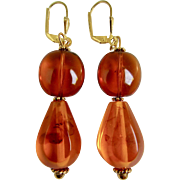 Little Creations GP * Natural Reformed Amber Double Bead Pierced Leverback Earrings