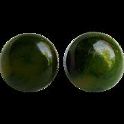 Vintage NOS Green Swirl Bakelite Pierced Earrings