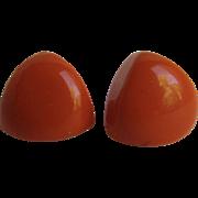 Vintage Bakelite NOS Orange Smaller Pierced Triangle Earrings