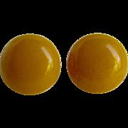 Vintage NOS Yellow Swirl Bakelite Pierced Earrings
