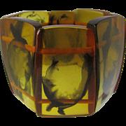 Vintage Rare Olive Green/Golden Natural Clarified Baltic  Amber Link Stretch Bracelet