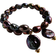 Little Creations Freshwater Cultured Pearl Baroque and Coin Shape with Color Enhancement on Memory Wire Bracelet