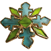 Vintage Signed Joy Resin Plique a Jour Stained Glass Resin Brutalist Style Turquoise and Green Cross GP Brooch