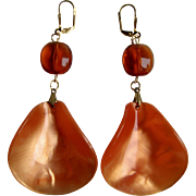 Little Creations Natural Reformed Amber and Lucite Mother of Pearl  Drops GP Leverback Pierced Earrings