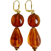 Little Creations Baltic Natural Reformed Amber Double Bead Pierced GP Leverback Drop Earrings