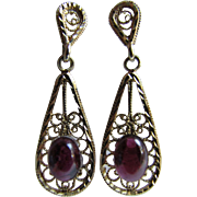 Vintage 14K Gold Filigree Drop Pierced Earrings With Genuine Garnet Cabochons
