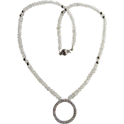 Little Creations 14kt White Gold Diamond Circle of Life Pendant With Rock Crystal Beads Necklace