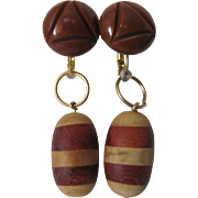 Little Creations Carved Brown Bakelite Cabochon with Laminated Wood Drops GP* Leverback Pierced Earrings