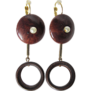 Little Creations Wooden and Faux Simulated Pearl GP Leverback Pierced Drop Earrings