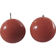 Vintage Sterling Silver Natural Salmon Red Coral Button Cabochon Pierced Earrings