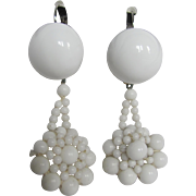 Little Creations Milk Glass Cabochon and Beaded Lace Look Drop SP Leverback Pierced Earrings