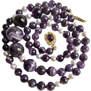 Little Creations 18kt GP Amethyst Graduated Beads and Cultured Freshwater Pearl Accent Beads Necklace