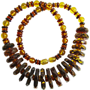 Vintage Graduated Baltic Natural Amber Carved and Facetted 2 Tone Bead Necklace