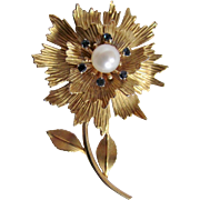 Vintage Signed Krementz Gold Overlay Flower Stem Leaf Motif Cultured Pearl Brooch