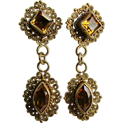 Vintage GP Sterling Silver Hand Crafted Citrine Drop Pierced Earrings