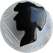 Vintage Book Piece Black Bakelite Lady's Silhouette on Reversed Carved Lucite Brooch