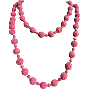 Antique Pink Rose Petal Bead Necklace with Rock Crystal spacer beads 38 Inch Eternity Strand