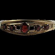Vintage Signed Carl Art Victorian Revival Style Almandite Garnet Graduated Gems GF Bracelet
