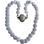 Little Creations SP Moonstone Clasp and Graduated Blue Lace Agate Button Disc Beads Necklace