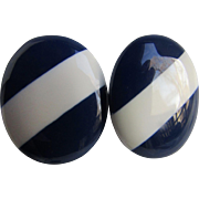 Vintage Laminated Lucite Navy and White bold Striped Pierced Earrings